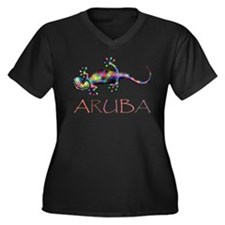 Cute Aruba Women's Plus Size V-Neck Dark T-Shirt