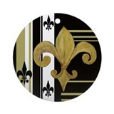 Gold and multi black fleur de Ornament (Round)