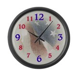 Patriotic Flag Large Wall Clock