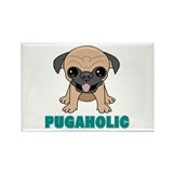 Pugaholic Cartoon Pug Rectangle Magnet (10 pack)