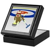 Sock Monkey Olympics Curling Keepsake Box