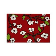 cherry blossoms - red Rectangle Magnet