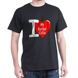 I Love My Border Collie (Front) Black T-Shirt