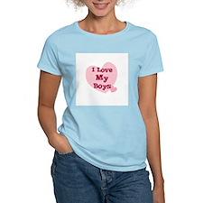 I Love My Boys Women's Pink T-Shirt