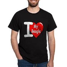 I Love My Beagle (Front) Black T-Shirt