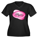 Pink Physics Oval Women's Plus Size V-Neck Dark T-