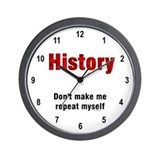 Repeat History Red Wall Clock