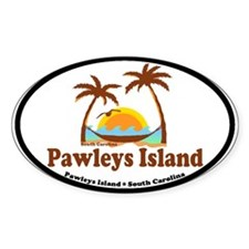Pawleys Island SC - Sun and Palm Trees Design Stic