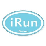 iRun Blue Oval Decal