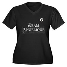 Team Angelique B&W Women's Plus Size V-Neck Dark T