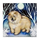 CHOW CHOW CREAM WINTER NIGHT Tile Coaster