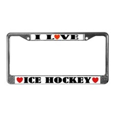 I Love Ice Hockey License Plate Frame