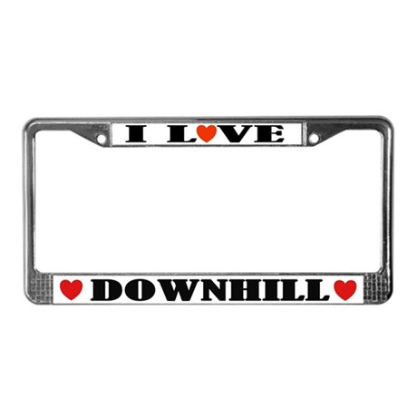 I Love Downhill Skiing License Plate Frame
