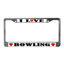 I Love Bowling License Plate Frame