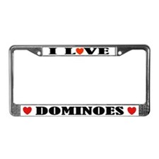 I Love Dominoes License Plate Frame