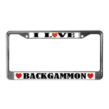 I Love Backgammon License Plate Frame