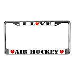 I Love Air Hockey License Plate Frame