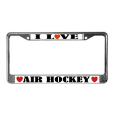 I Love Air Hockey License Plate Frame