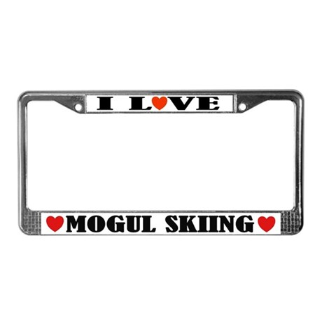 I Love Mogul Skiing License Plate Frame