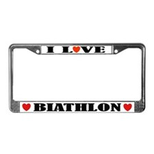 I Love Biathlon License Plate Frame