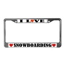 I Love Snowboarding License Plate Frame