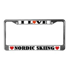 I Love Nordic Skiing License Plate Frame