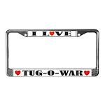 I Love Tug-O-War License Plate Frame