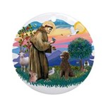 St Francis #2 / Poodle (ST-Ch) Ornament (Round)