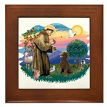 St Francis #2 / Poodle (ST-Ch) Framed Tile
