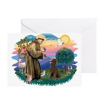 St Francis #2 / Poodle (ST-Ch) Greeting Card