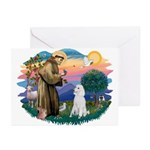 St Francis #2 / Poodle (STD W) Greeting Cards (Pk