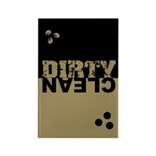 Dirty/Clean Dishwasher SQ bk/gold Rectangle Magnet
