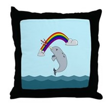 Unimpressed Narwhal Throw Pillow
