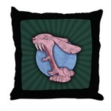 Pink Evil Bunny Throw Pillow