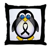Penguin Black Ribbon Awareness Throw Pillow