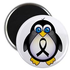"Penguin Black Ribbon Awareness 2.25"" Magnet (10 pa"