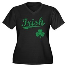 Irish Sports Style Women's Plus Size V-Neck Dark T