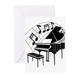 Grand Piano Notes Greeting Cards (Pk of 10)