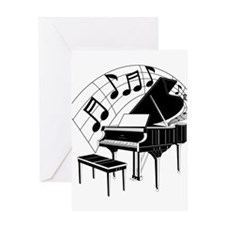 Grand Piano Notes Greeting Card