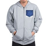 Faux Denim Pocket Zip Hoodie