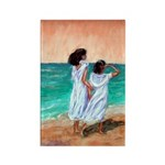 Girls Looking Out to Sea Rectangle Magnet (100 pac