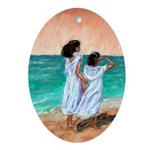 Girls Looking Out to Sea Ornament (Oval)
