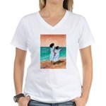 Girls Looking Out to Sea Women's V-Neck T-Shirt