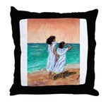 Girls Looking Out to Sea Throw Pillow