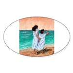 Girls Looking Out to Sea Sticker (Oval 50 pk)