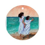 Girls Looking Out to Sea Ornament (Round)