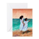 Girls Looking Out to Sea Greeting Card