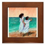 Girls Looking Out to Sea Framed Tile