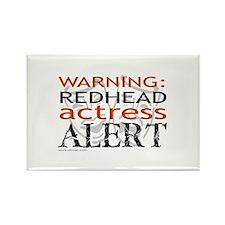 Warning: Redhead Actress Rectangle Magnet