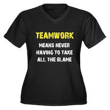 Teamwork Women's Plus Size V-Neck Dark T-Shirt